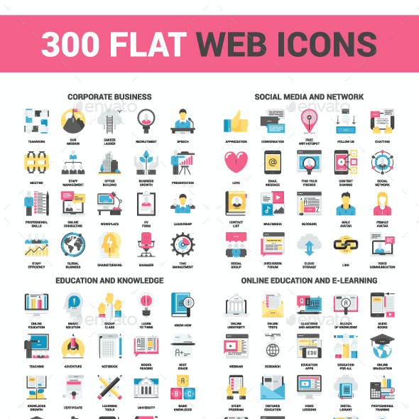 300 Flat Web Icons Bundle