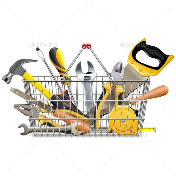 Supermarket Basket with Instruments - Industries Business