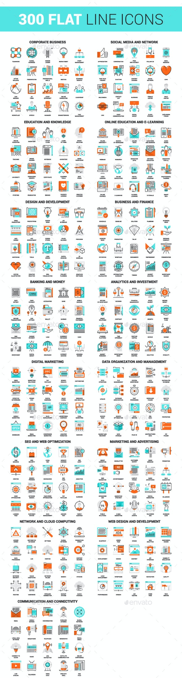 300 Flat Line Icons - Icons