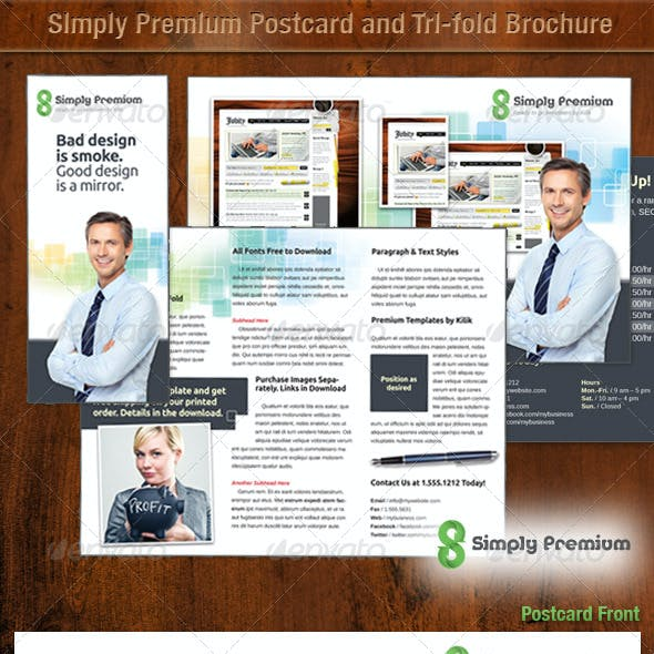Simply Premium Postcard and Tri-fold Template