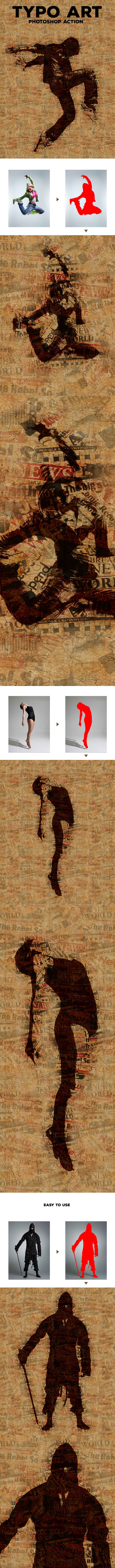 Typo Art - Photoshop Action - Photo Effects Actions