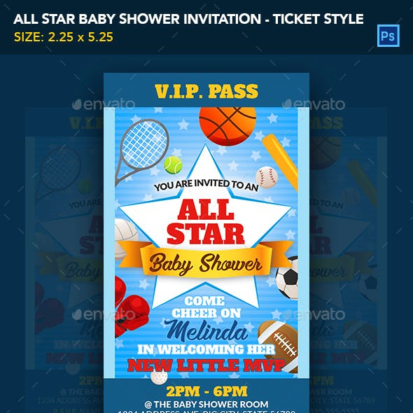 All Star Baby Shower Invitation Ticket Template