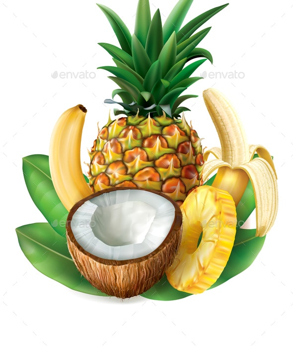 Coconut  Pineapple and Bananas - Food Objects