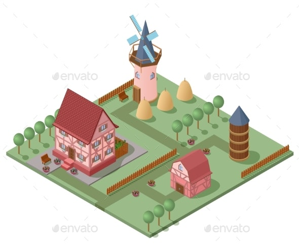 Isometric Farming Concept - Buildings Objects