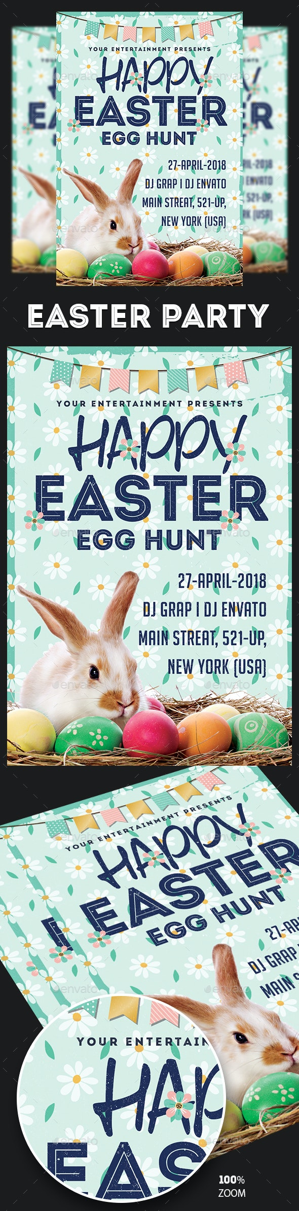 Easter Party Flyer Template - Holidays Events