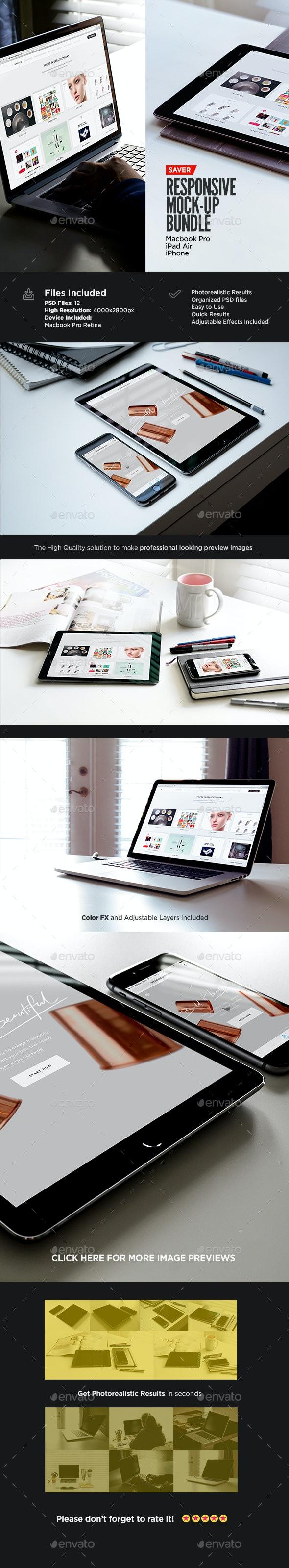 Responsive Screen MockUp Pack | Bundle Edition - Multiple Displays