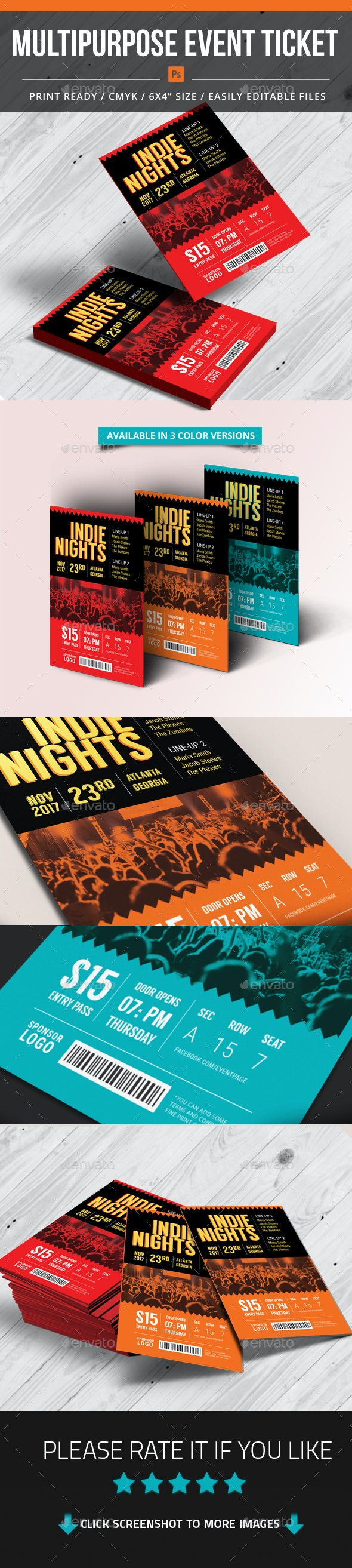 Multipurpose Event Ticket - Events Flyers