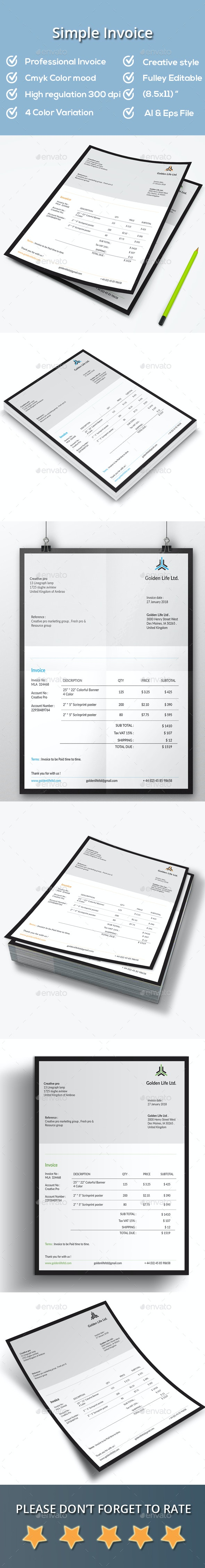 Simple Invoice - Proposals & Invoices Stationery