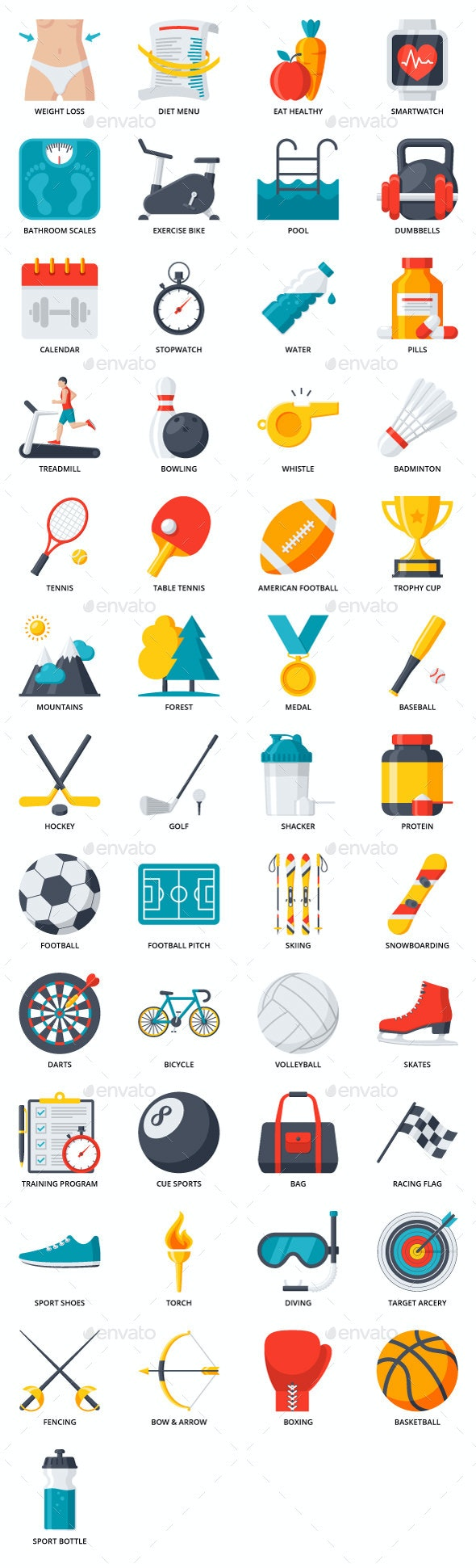 49 Fitness, Sport and Health Icons - Miscellaneous Icons