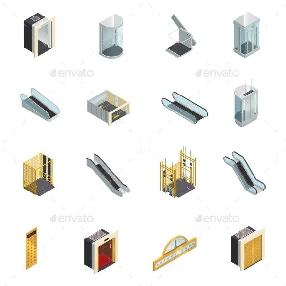 Elevator Isometric Elements Set - Miscellaneous Vectors