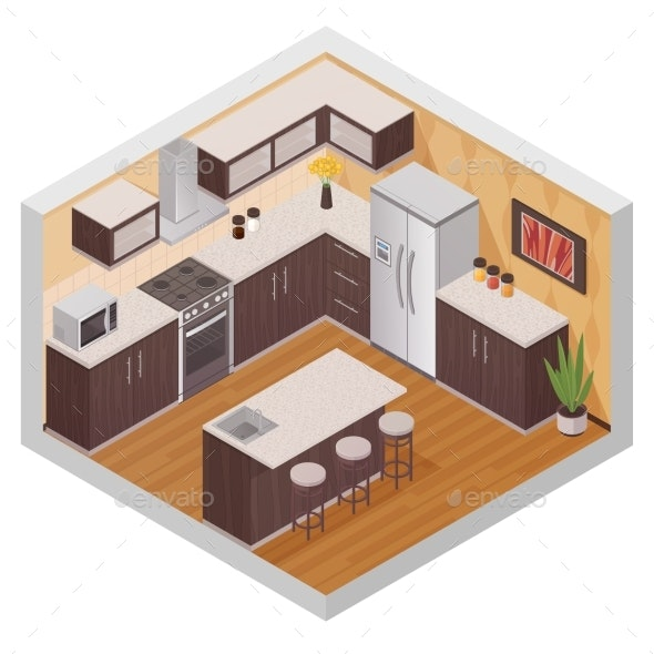 Kitchen Modern Interior Isometric Composition - Man-made Objects Objects