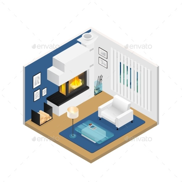 Living Room Isometric Interior with Fireplace - Man-made Objects Objects