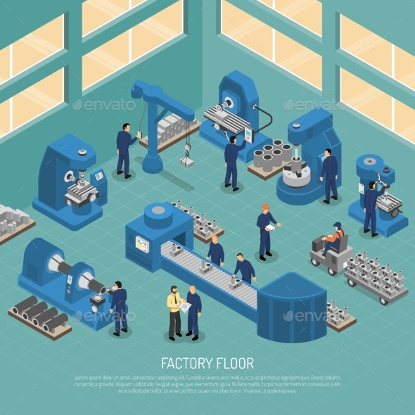 Heavy Industry Production Facility Isometric - Buildings Objects