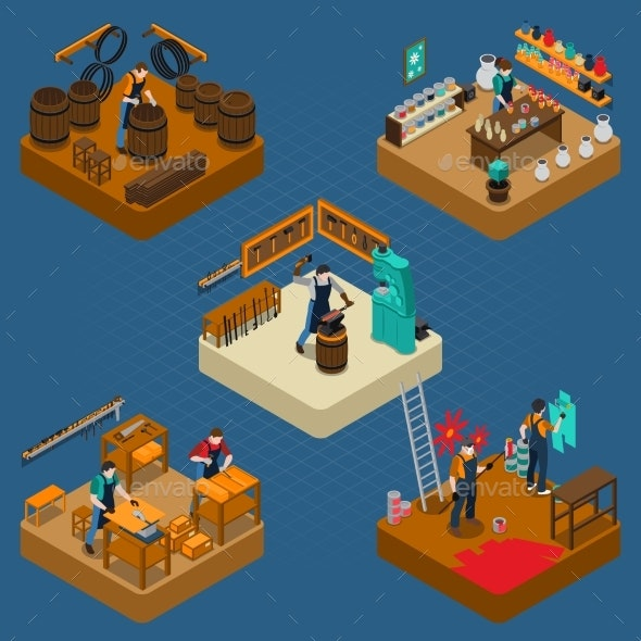 Craftsman Isometric Illustration - Concepts Business