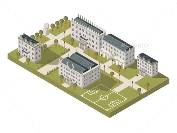 Isometric University Campus Concept - Buildings Objects