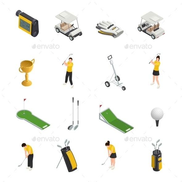 Golf Colored Isometric Isolated Icons - Sports/Activity Conceptual
