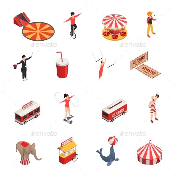 Circus Isometric Icons Set