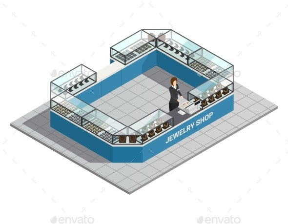 Jewelry Shop Isometric Interior with Seller - Retail Commercial / Shopping