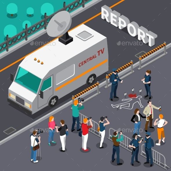 Reportage From Murder Scene Isometric Illustration - Miscellaneous Vectors