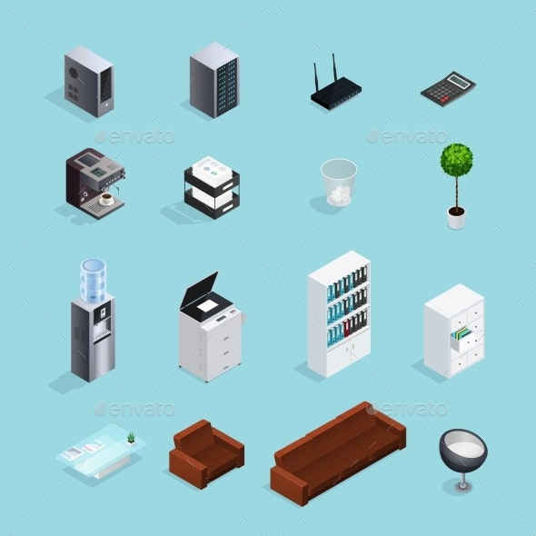 Colored Office Supplies Isometric Icon Set - Man-made Objects Objects
