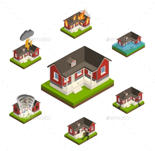 Household Insurance Isometric Set - Buildings Objects