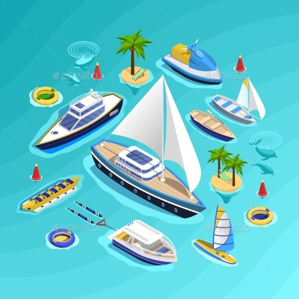 Water Transport Isometric Collection - Man-made Objects Objects