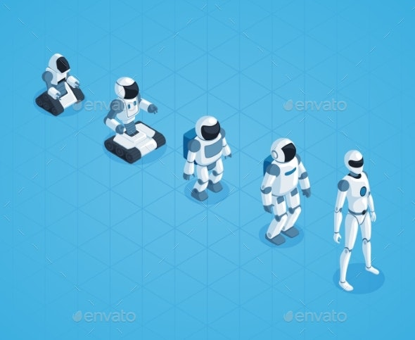 Evolution of Robots Isometric Design - Computers Technology