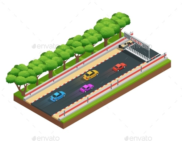 Gaming Speedway Isometric Composition - Sports/Activity Conceptual