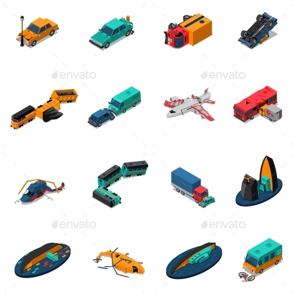 Transport Accidents Isometric Set - Man-made Objects Objects