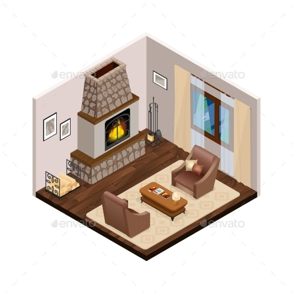 Lounge Isometric Interior with Fireplace - Buildings Objects