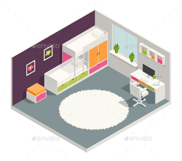 Kids Room Isometric Composition - Man-made Objects Objects