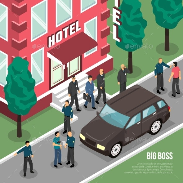 Big Boss with Security Isometric Illustration - Buildings Objects