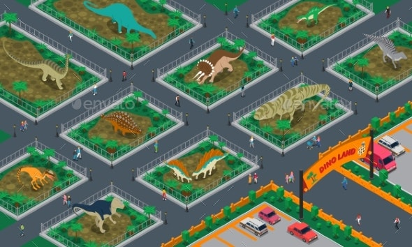 Dino Land Isometric Composition - Animals Characters