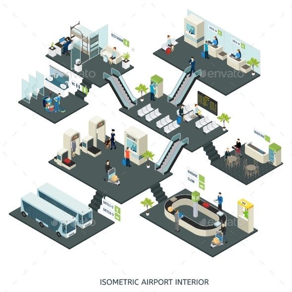 Isometric Airport Halls Composition - Buildings Objects