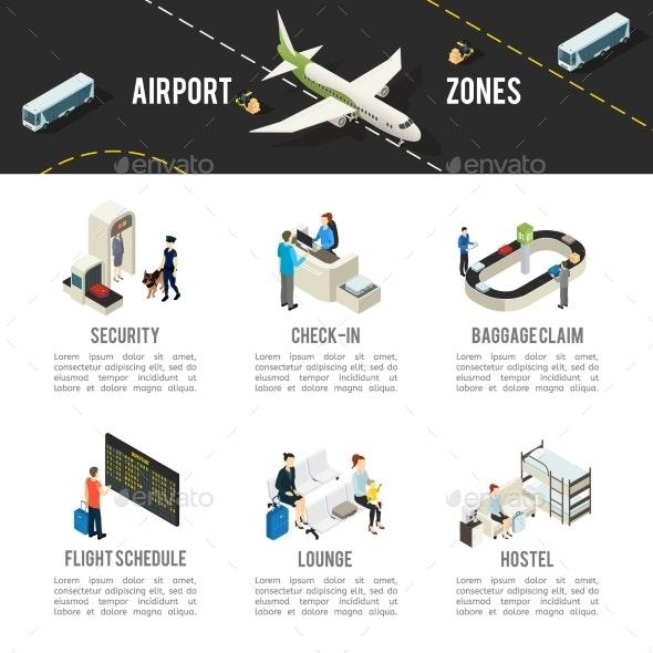 Isometric Airport Zones Template - Travel Conceptual