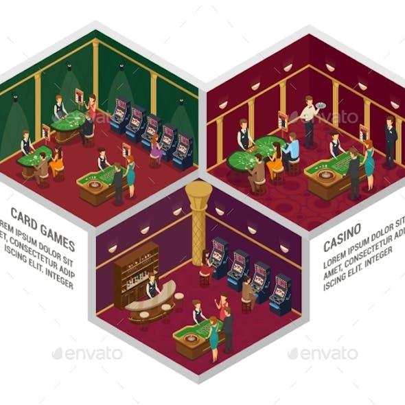 Three Casino Isometric Interior Compositions