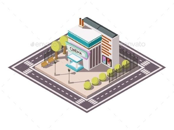 Cinema Isometric Illsutration - Buildings Objects