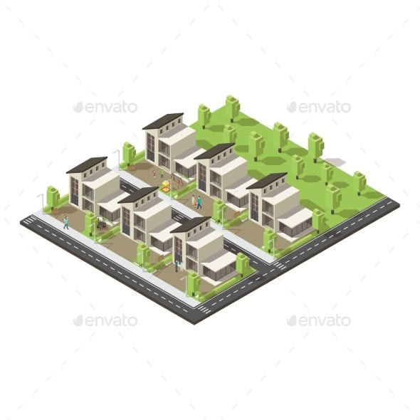 Isometric Complex Suburban Buildings Concept - Buildings Objects