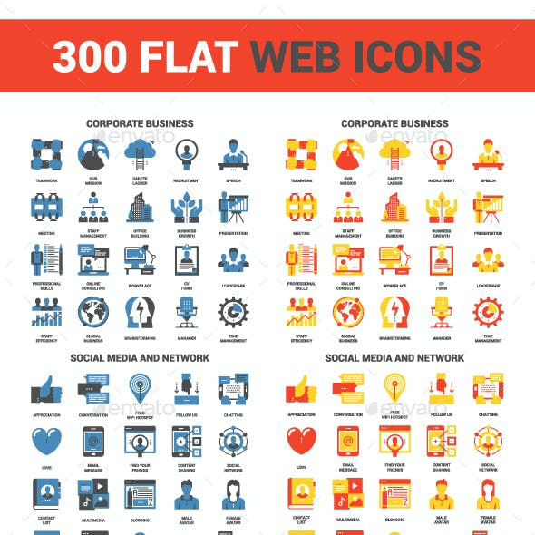 300 Flat Web Icons