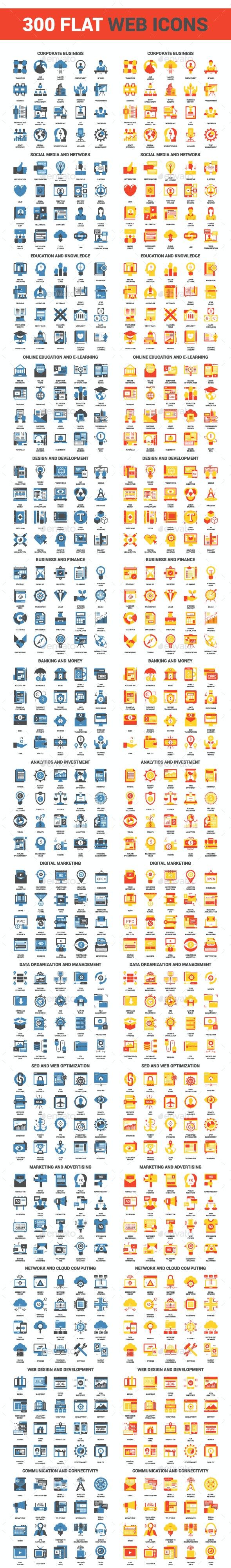 300 Flat Web Icons - Icons