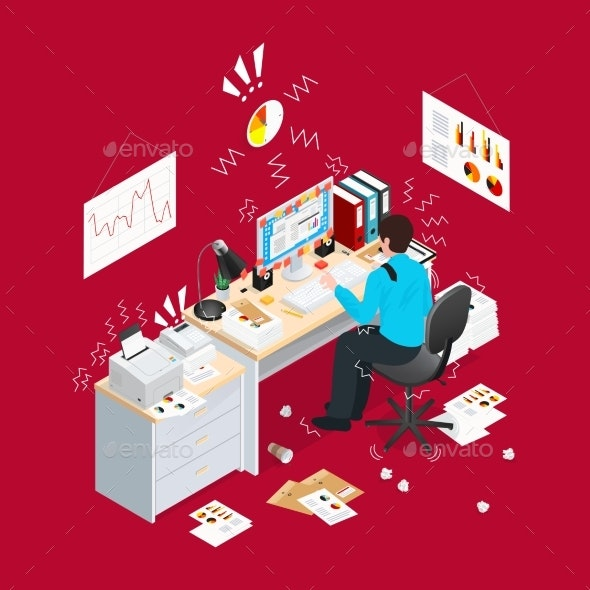 Deadline Office Isometric Composition - Concepts Business