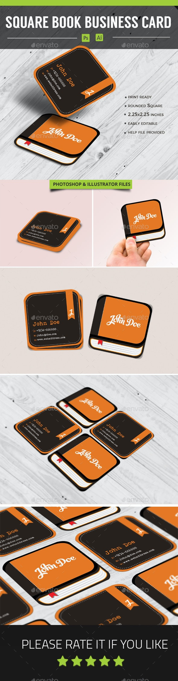 Square Book Business Card Vol 1 - Business Cards Print Templates