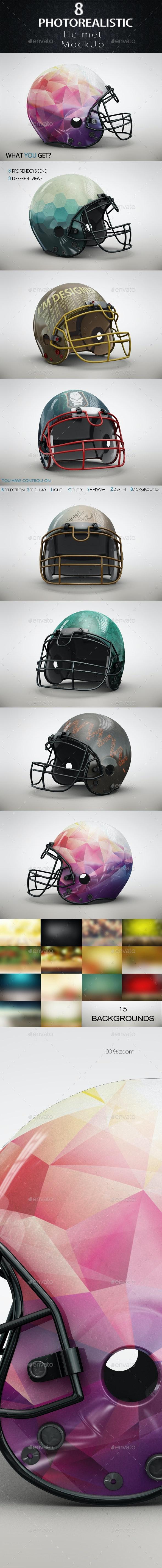 Football Helmet MockUp - Product Mock-Ups Graphics