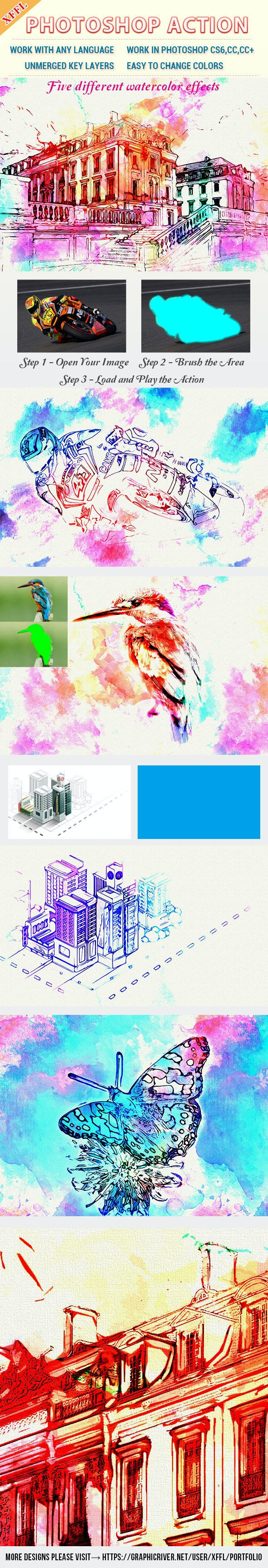 Watercolor Art V2 Photoshop Action - Photo Effects Actions