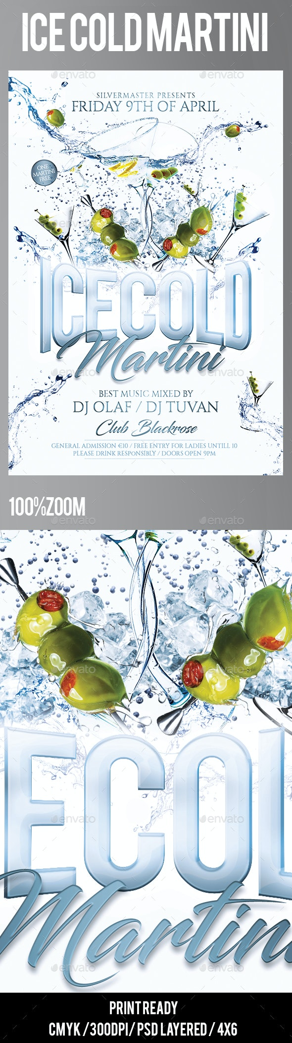 Ice Cold Martini Flyer - Clubs & Parties Events