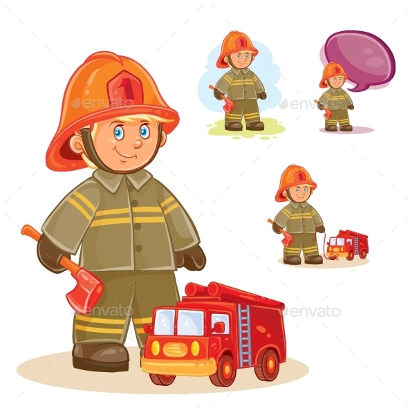 Icon of Small Child Firefighter - Miscellaneous Vectors