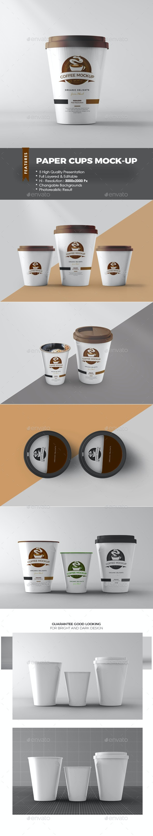 Paper Coffee Cups Mock-up - Food and Drink Packaging