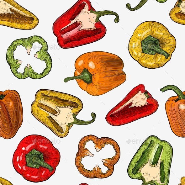 Seamless Pattern with Hand Drawn Sketch Style - Food Objects