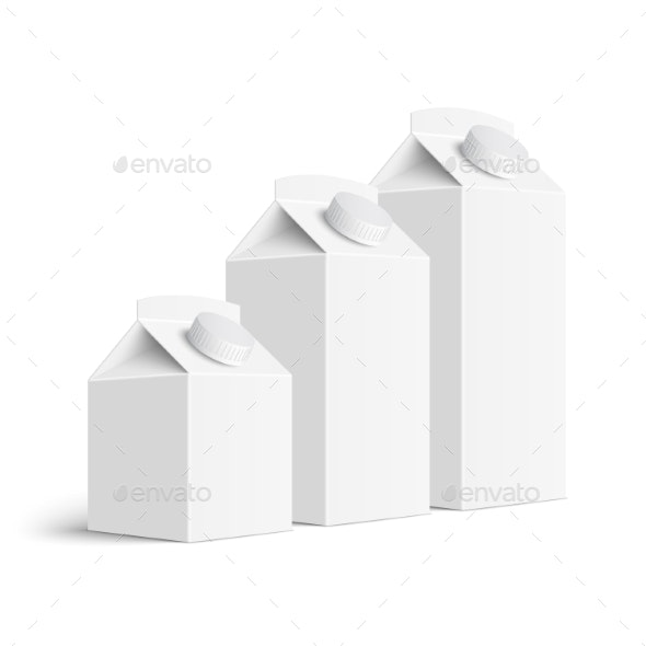 Set of Juice and Milk Blank White Carton Boxes - Man-made Objects Objects