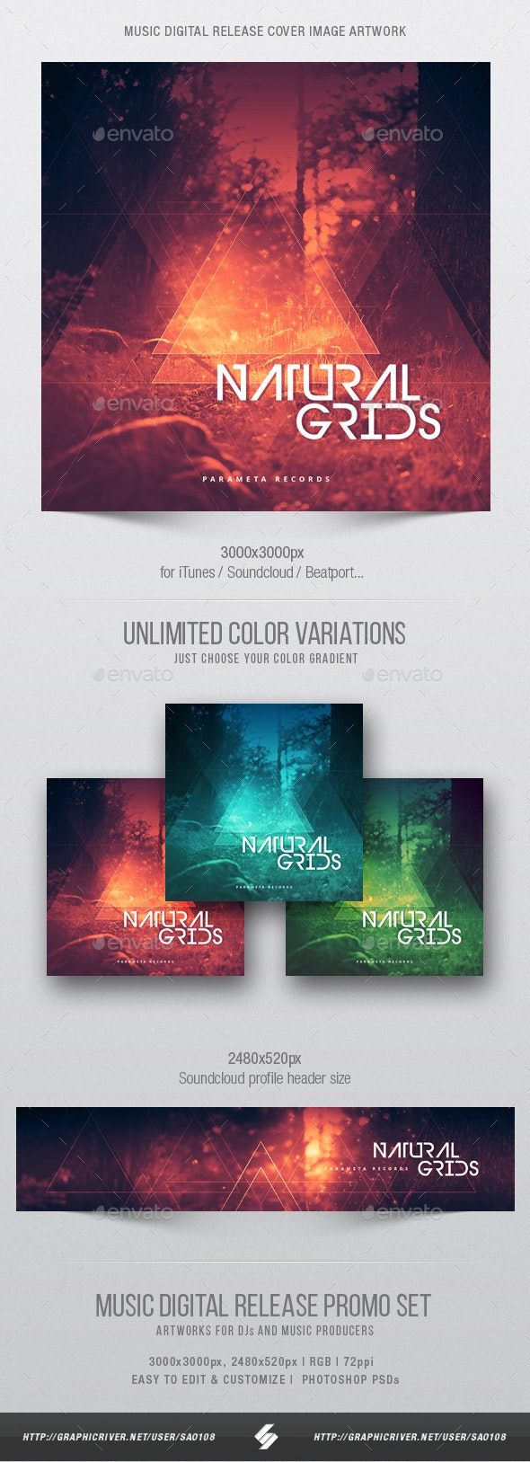 Natural Grids - Music Cover Image Artwork Template - Miscellaneous Social Media
